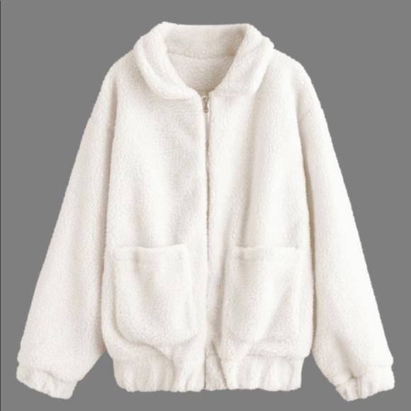 Zaful Jackets Amp Coats White Fluffy Zip Up Teddy Coat